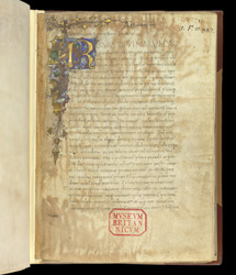 Illuminated Inhabited Initial, In Theological Treatises by St. Athanasius, Translated Into Latin  By Antonio Beccaria f.1r